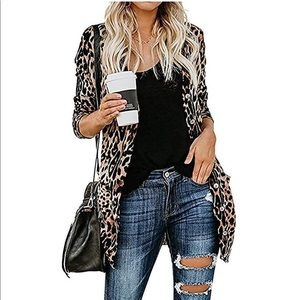 Tops - Leopard print cardigan. NWOT.